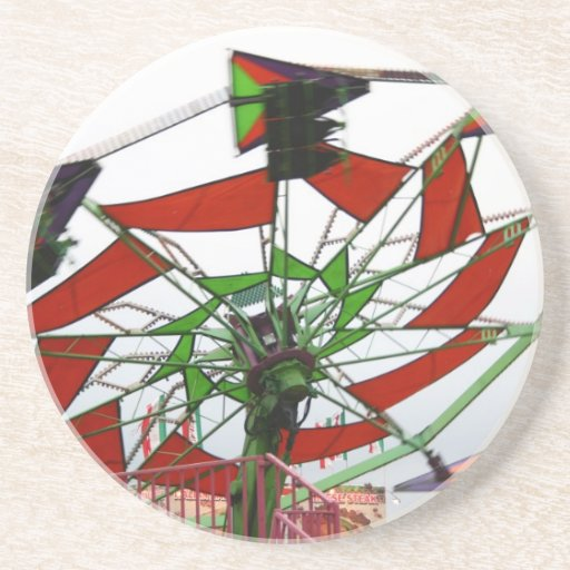 Fair Ride Flying Glider Green and Red Image Drink Coaster