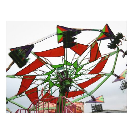 Fair Ride Flying Glider Green and Red Image Flyer Design