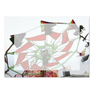 Fair Ride Flying Glider Green and Red Image 5x7 Paper Invitation Card