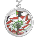 Fair Ride Flying Glider Green and Red Image Personalized Necklace