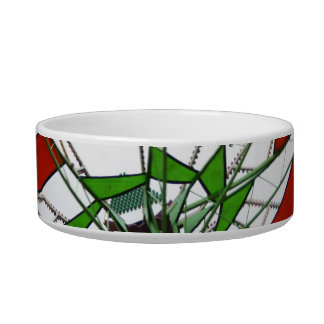 Fair Ride Flying Glider Green and Red Image Cat Food Bowl