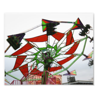 Fair Ride Flying Glider Green and Red Image Photo Print
