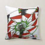 Fair Ride Flying Glider Green and Red Image Throw Pillow