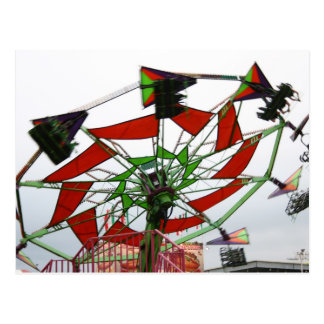 Fair Ride Flying Glider Green and Red Image Postcard