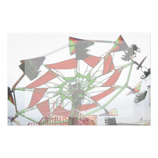 Fair Ride Flying Glider Green and Red Image Stationery Paper