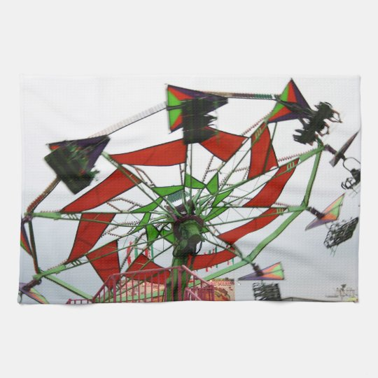 Fair Ride Flying Glider Green and Red Image Towels