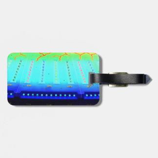 fair ride green invert blue w lights close up luggage tag