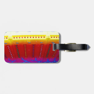 fair ride red yellow blue w lights close up luggage tags