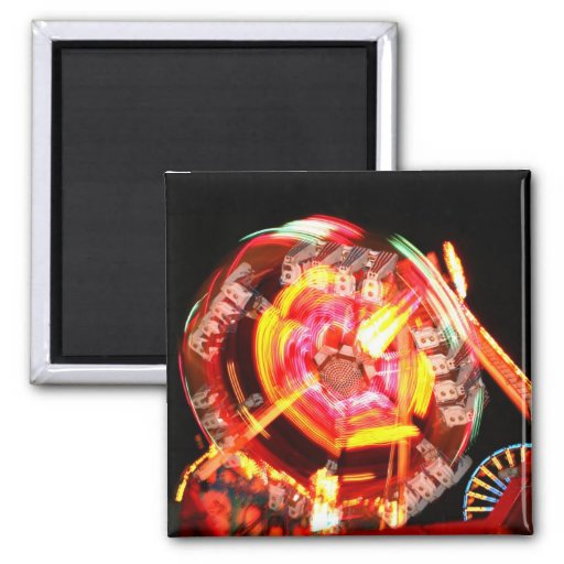 Fair Ride Spinning Colours Red and yellow 2 Inch Square Magnet
