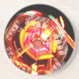 Fair Ride Spinning Colours Red and yellow Drink Coaster