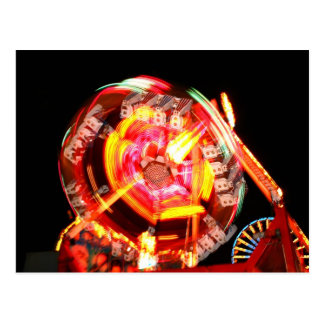 Fair Ride Spinning Colours Red and yellow Postcard