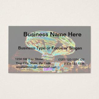 Fair ride Swings Blur Black and Neon Business Card