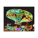Fair ride Swings Blur Black and Neon Stretched Canvas Prints