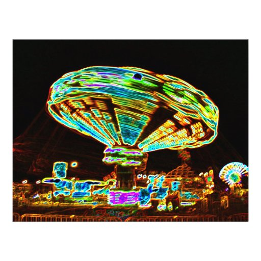 Fair ride Swings Blur Black and Neon Flyers