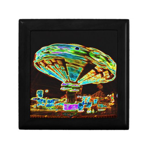Fair ride Swings Blur Black and Neon Jewelry Boxes