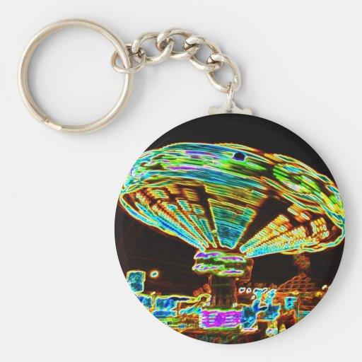 Fair ride Swings Blur Black and Neon Keychain