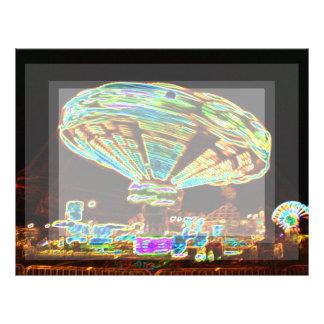 Fair ride Swings Blur Black and Neon Letterhead