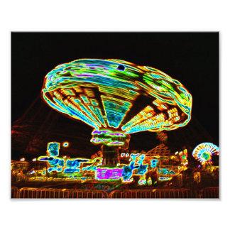 Fair ride Swings Blur Black and Neon Photo
