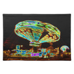 Fair ride Swings Blur Black and Neon Placemats