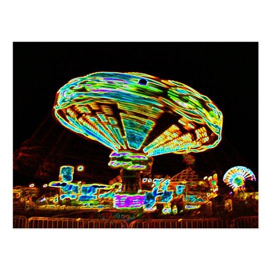 Fair ride Swings Blur Black and Neon Postcard