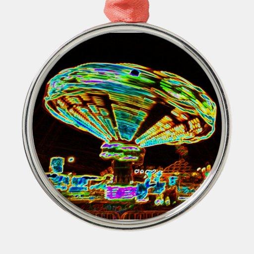 Fair ride Swings Blur Black and Neon Round Metal Christmas Ornament