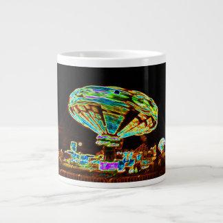 Fair ride Swings Blur Black and Neon 20 Oz Large Ceramic Coffee Mug