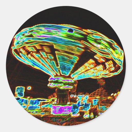 Fair ride Swings Blur Black and Neon Sticker