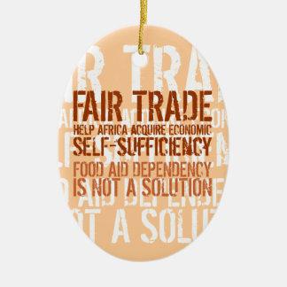 Fair trade slogan on Christmas ornamentation Christmas Ornaments