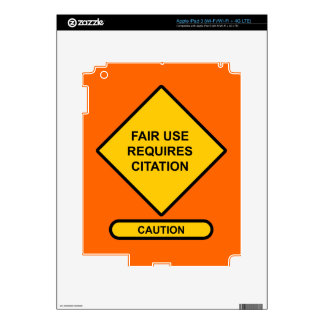 Fair Use Requires Citation Decal For iPad 3