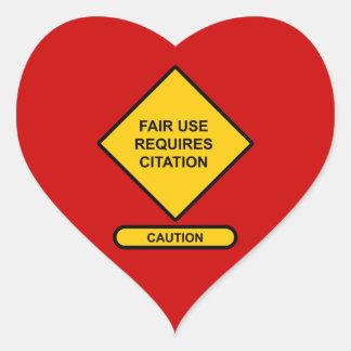 Fair Use Requires Citation Heart Sticker