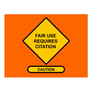 Fair Use Requires Citation Postcard