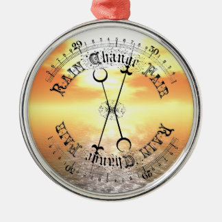 Fair Weather Barometer Sunset Christmas Pendant Round Metal Christmas Ornament