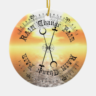 Fair Weather Barometer Sunset Christmas Pendant Double-Sided Ceramic Round Christmas Ornament