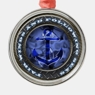 Fair winds and following seas anchor round metal christmas ornament