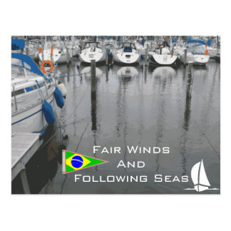 Fair Winds Following Seas Nautical Saying Brazil Postcard