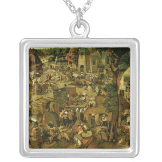 Fair with a Theatrical Performance, 1562 Silver Plated Necklace