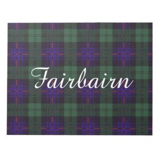 Fairbairn clan Plaid Scottish kilt tartan Notepad