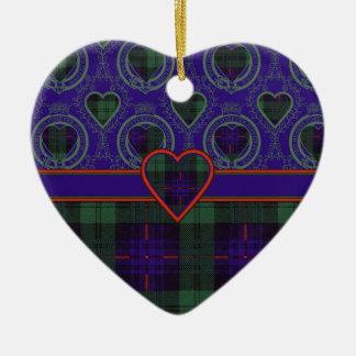 Fairbairn clan Plaid Scottish kilt tartan Double-Sided Heart Ceramic Christmas Ornament