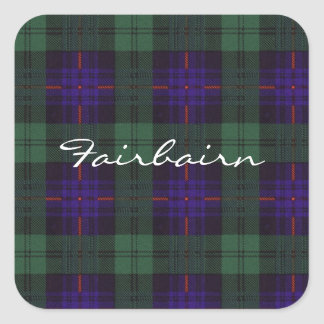 Fairbairn clan Plaid Scottish kilt tartan Square Sticker