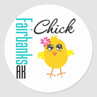 Fairbanks AK Chick Classic Round Sticker