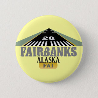 Fairbanks Alaska - Airport Runway Pinback Button