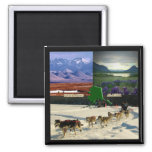 Fairbanks, Alaska Collage 2 Inch Square Magnet
