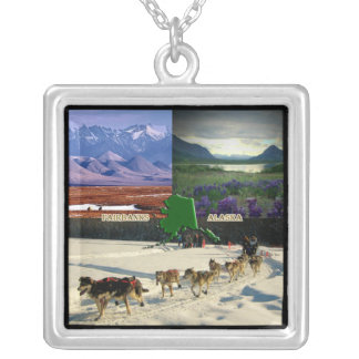 Fairbanks, Alaska Collage Silver Plated Necklace