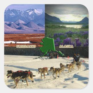 Fairbanks, Alaska Collage Square Sticker