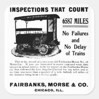 Fairbanks Morse Track Inspection Motor Car 1907 Square Sticker