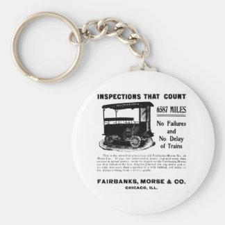 Fairbanks Morse Track Inspection Motor Car Basic Round Button Keychain