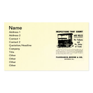 Fairbanks Morse Track Inspection Motor Car Business Cards