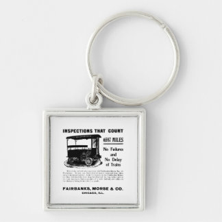 Fairbanks Morse Track Inspection Motor Car Silver-Colored Square Keychain