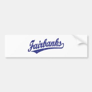 Fairbanks script logo in blue car bumper sticker
