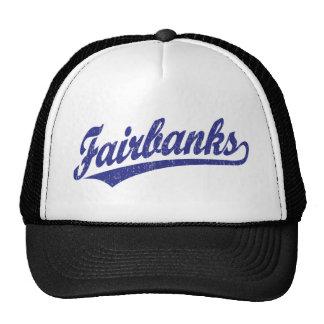 Fairbanks script logo in blue trucker hat